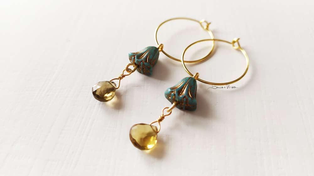 IMG_20201029_111831 Cerchi in oro con fiore  turchese