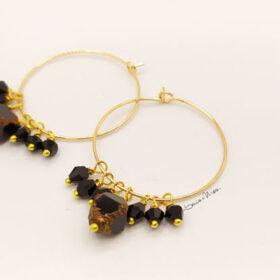 orecchini a cerchio cristalli neri