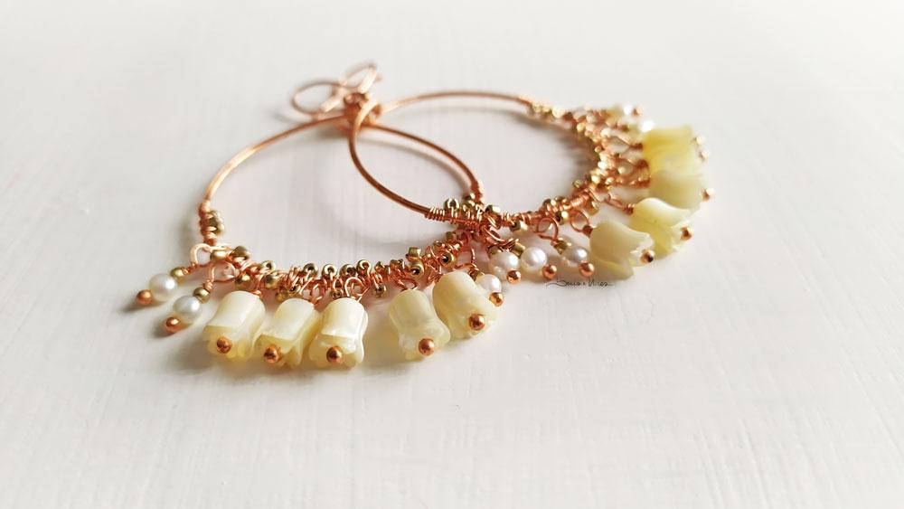 Grandi cerchi con perle e madreperla
