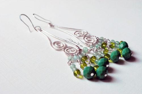 orecchini argento verde