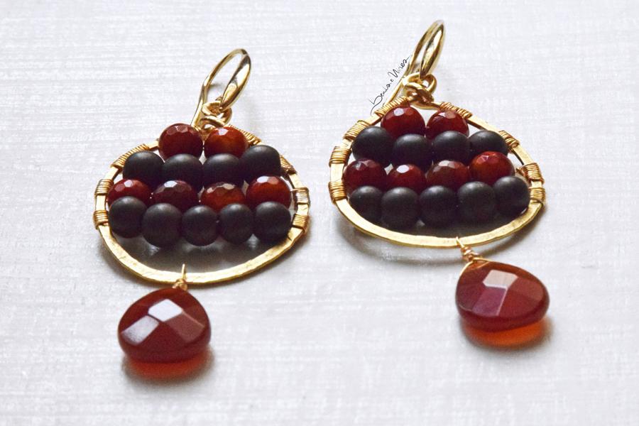 DSC_1959 Orecchini a goccia marrone e arancio