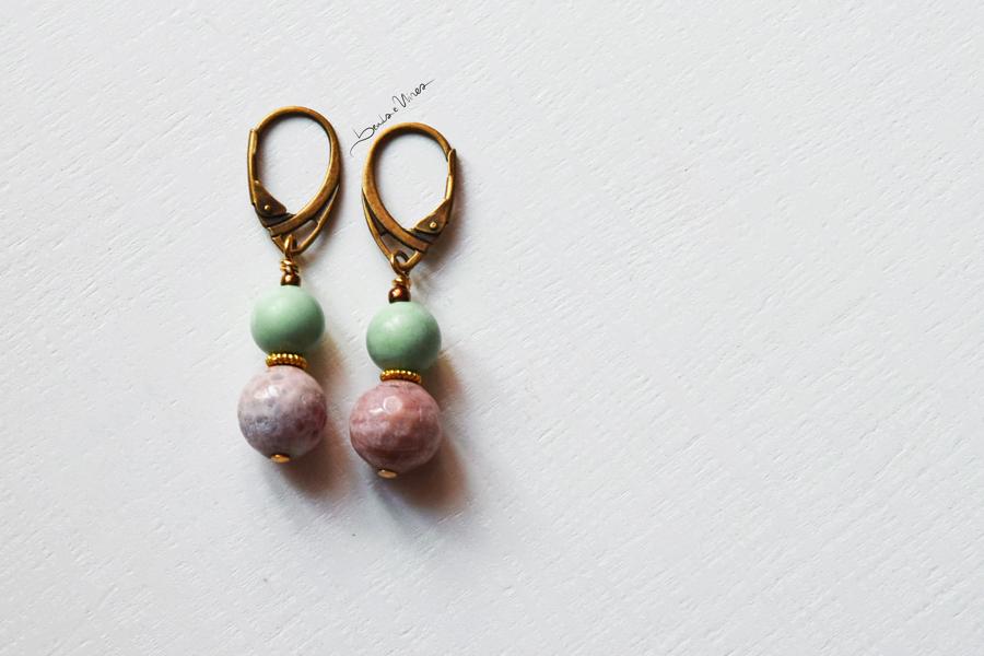 DSC_2064 Orecchini corti rosa e verde