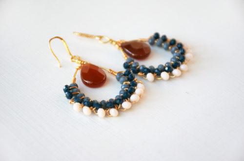 orecchini semicerchio blu