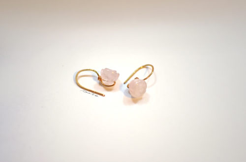 orecchini corti quarzo rosa