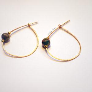Orecchini ovale oro con pietra verde