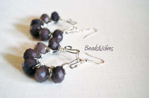 orecchini viola argento