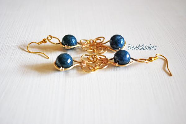 orecchini oro blu