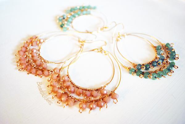 orecchini cerchio beads rosa