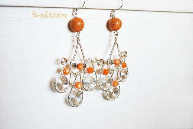 DSC_9486 Lunghi orecchini Arancio e argento