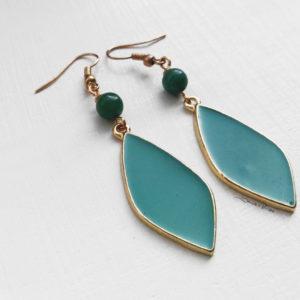 orecchini a foglia verdi smeraldo