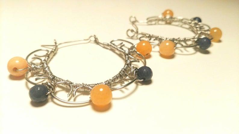 orecchino arancio e blu